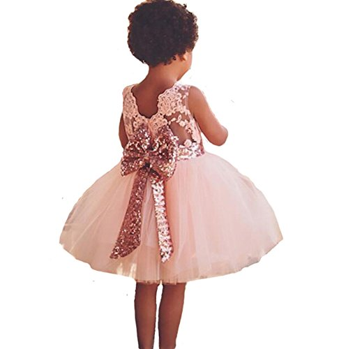 Freefly 0-5 Years Newborn Toddler Girls Dress Wedding Party Birthday Sequins Bowknot Floral Sleeveless Princess Formal Dress