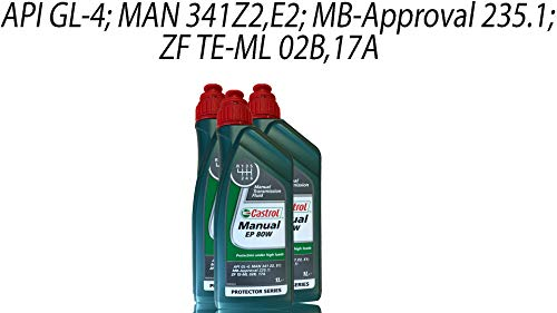 Castrol Manual EP 80W Olio per Cambio 3 X 1 Litri Mercedes 235.1 Man 341 Tipo Z-1 E-1 1L