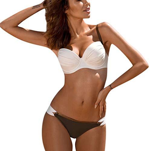 kolila Damen Push-Up BH Bikini Set Badeanzug Badeanzug Lässig Zweiteilige Bademode Beachwear(C-Weiß,2XL)