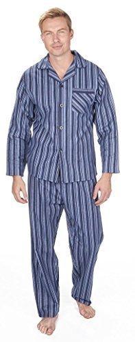 Herren Gebürstet Pure 100% Baumwollschlafanzug Winter Warm Flanell Thermo M L XL XXL - Marineblau Doppel Streifen, Herren, XXL (Streifen-pyjama-böden)