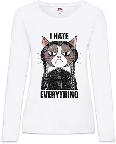 I Hate Everything Cat Frauen Damen Langarm T-Shirt Größen XS - 2XL