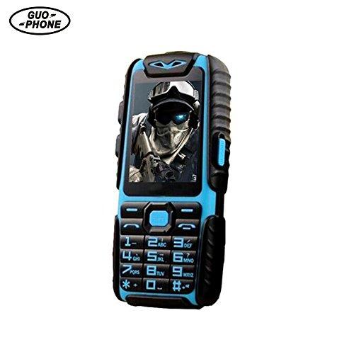 Jannyshop Seniorenhandy Ohne Vertrag Guophone A6 DUAL SIM Mobiltelefon 2.4 Zoll Bildschirm Wasserdichtes Telefon Englische Tastatur Blau
