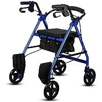 Yxsd Silla de Ruedas Rollator Ancianos Walker Trolley Old Walking Frame (Color : Azul)