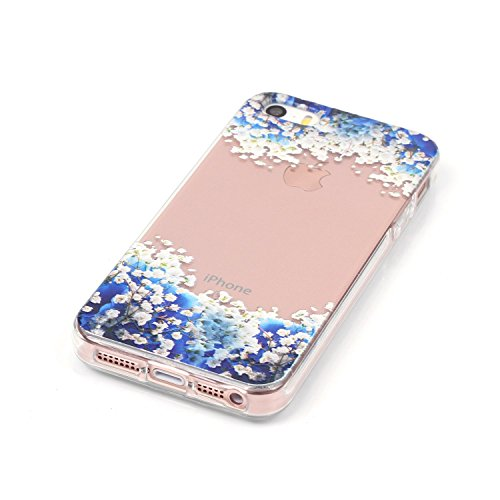 iPhone 5 Silikon Handyhülle,iPhone 5S Gel Cover,CLTPY [Kratzfeste] [Stoßfest] Transparent Klar Malerei Muster Design TPU Bumper Etui Case für iPhone SE,Ultra Dünn Super Leicht Soft [Perfekt Passen] Sc Blaue Floral
