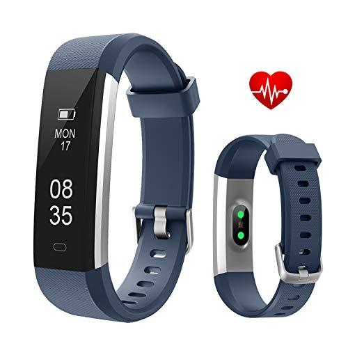Fitness Armbanduhr, TOOBUR Schmal Wasserdicht Fitness Tracker mit Herzfrequenz Schrittzähler Schlafmonitor und Kalorienzähler, Aktivitätstracker Armband Uhr für Damen Herren und Kinder--Blau