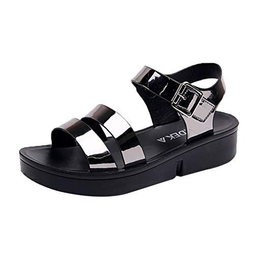 (Ears Damen Sommer Sandalen Mode Leder Sandalen Wedges Comfort Big Size Schuhe Strand Sandalen Freizeit Römische Schuhe Lässige Böhmische Schuhe Vintage Espadrilles Casual High Heels)