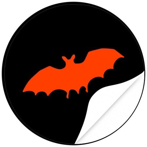 / Aufkleber / Sticker / 48 Stück / Fledermaus zum kleben / Dekorieren / Farbe Schwarz / Selbstklebend / Rund (Halloween Fledermaus-dekorationen Basteln)