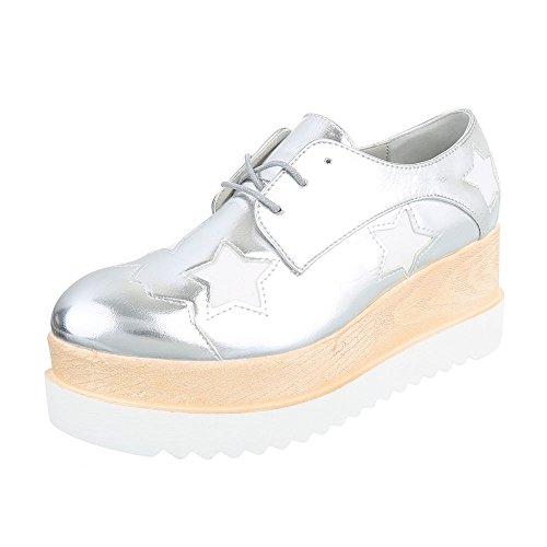 Schnürer Damen-Schuhe Oxford Schnürer Schnürsenkel Ital-Design Halbschuhe Silber, Gr 36, 803-P-