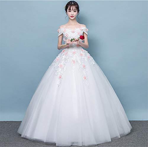 ELEGENCE-Z Hochzeitskleid, Europa und Amerika Elegante Prinzessin 3D Blume Verschönerung schlanke hochwertige Spitze trägerlosen Strap Party Dinner Dress - Seide Trägerlosen Brautkleid