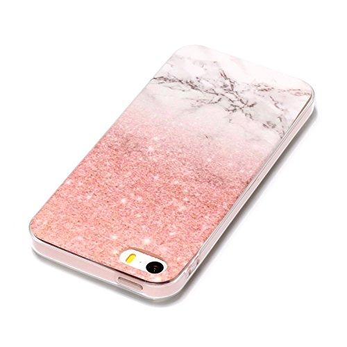 Custodia iPhone 5S, ISAKEN Cover per Apple iPhone 5/5S/SE [TPU Shock-Absorption] - Marmo Modello Naturale Custodia Soft TPU Sottile Custodia Case Morbido Protettiva Bumper Caso, Rosa nero Rosa bianco