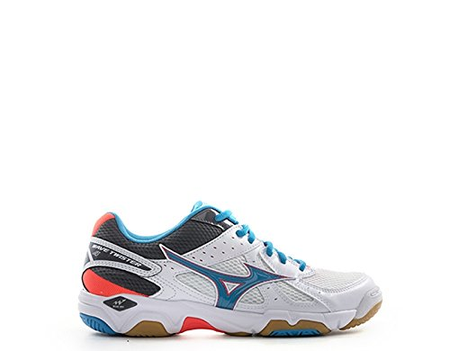 Mizuno Wave Twister WOS, Scarpe Indoor Multisport Donna, (White/AtomicBlue/FieryCoral), 40.5 EU
