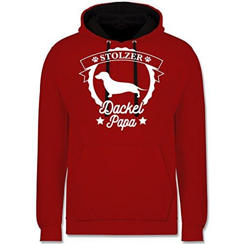 Hunde - Stolzer Dackel Papa - Kontrast Hoodie Rot/Schwarz
