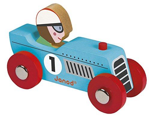 Janod Holzspielzeug - Story Retro Rennwagen Set 2 Stück Auto 2 Modelle, Blau
