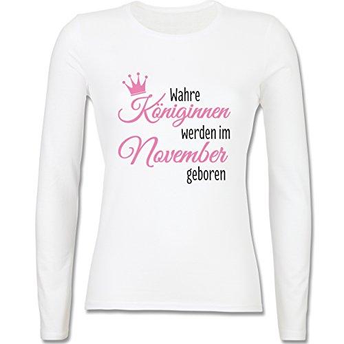 Geburtstag - Wahre Königinnen werden im November geboren - tailliertes Longsleeve / langärmeliges T-Shirt für Damen Weiß