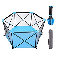 WIPALO Baby Playpen Portable, 55 inch Playpens for Babies, Hexagonal Infant Play, Playpen Infant Play Playpen with Storage Bag, Durable Fold Playpen, Portable Playard for 0-4 Ages, Blue
