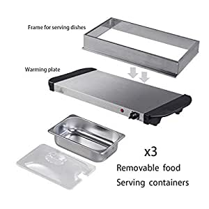 300w Stainless Steel 3 x 2.5L Pan Large Buffet Food Server Warmer Hot Plate Tray
