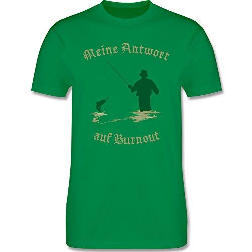 Angeln - Meine Antwort auf Burnout - Herren Premium T-Shirt Grün