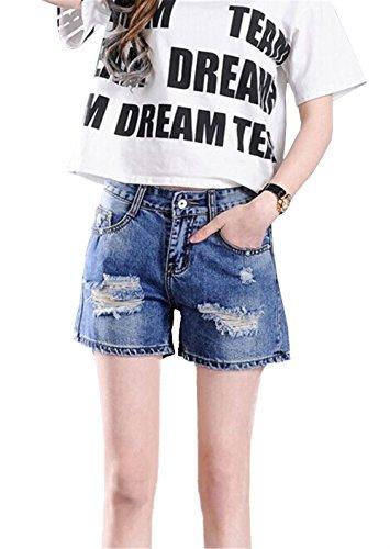 Blansdi Damen Mädchen Frauen Sommer Taille Distressed Ripped Gewaschene Jeans Boyfriend Lose Denim Kurze Hose Loch Jeanshose Übergröße Blau