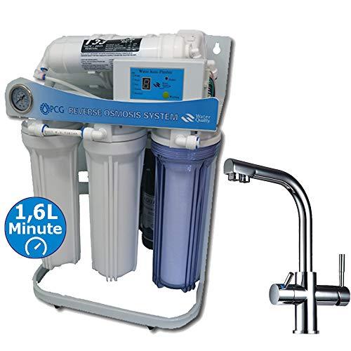 PUR Booster 5 Stufen 600 GPD Direct flow Umkehrosmose + 3-Wege Wasserhahn DELTA (Delta Trinkwasser Wasserhahn)