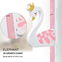 WPT 3D Swan Growth Chart Height Ruler Magnetic Measurement Removable Header Portable Decals Children Room Kindergarten Pink
