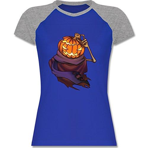 Shirtracer Halloween - Kürbiskopf - Zweifarbiges Baseballshirt/Raglan T-Shirt für Damen Royalblau/Grau meliert