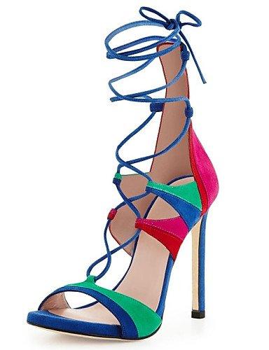 LFNLYX Chaussures Femme-Habillé / Décontracté / Soirée & Evénement-Noir / Vert / Rouge-Talon Aiguille-Talons / Bout Ouvert-Sandales / Talons-Cuir Red