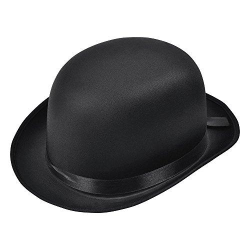 Bristol Novelty bh493Bowler Hut schwarz satin finish, One size (Ideen Bowler Hut Halloween-kostüm)