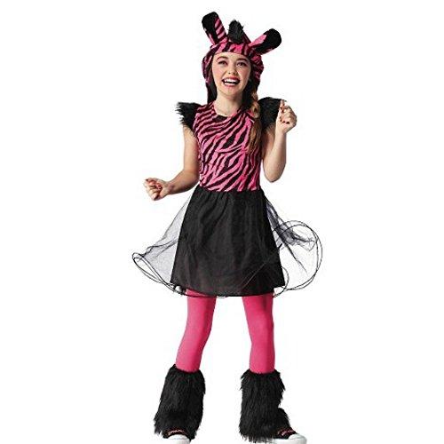 Zebra Kostüm Tutu Kleid + Mütze Halloween Karneval Mädchen (122-128) (Mädchen Zebra-kostüme Für)