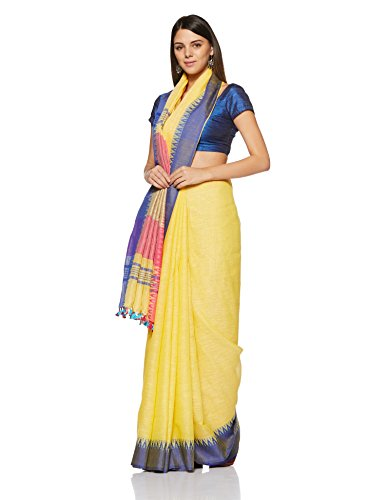 Gocoop Linen Saree With Blouse Piece (GCJRSLISAA0268_Yellow_One Size)