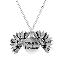 Ayioo Open Locket Sunflower Pendant Necklace You Are My Sunshine Lettering Necklace (Silver)
