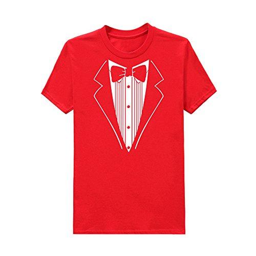 TEELONG Kostüm Herren Freizeit Drucken Sie Baumwolle kurzärmel Tuxedo Fancy lustige T-Shirt Plus Bluse Top Langarmshirts T-Shirts Sweatshirt Playsuit Streetwear Kapuzenpullover(L, Rot) (Drucken Sie Kostüm)