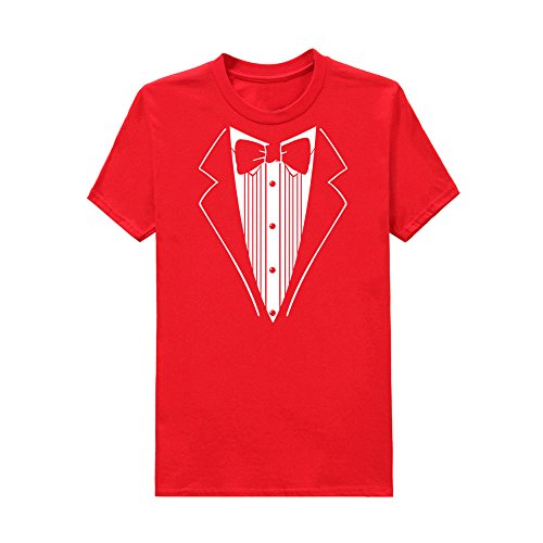 TEELONG Kostüm Herren Freizeit Drucken Sie Baumwolle kurzärmel Tuxedo Fancy lustige T-Shirt Plus Bluse Top Langarmshirts T-Shirts Sweatshirt Playsuit Streetwear Kapuzenpullover(XL, Rot) Tuxedo-overall