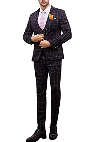 Tsui-Fashion Men's Plaid Vest Business One Button Suits Three Piece
