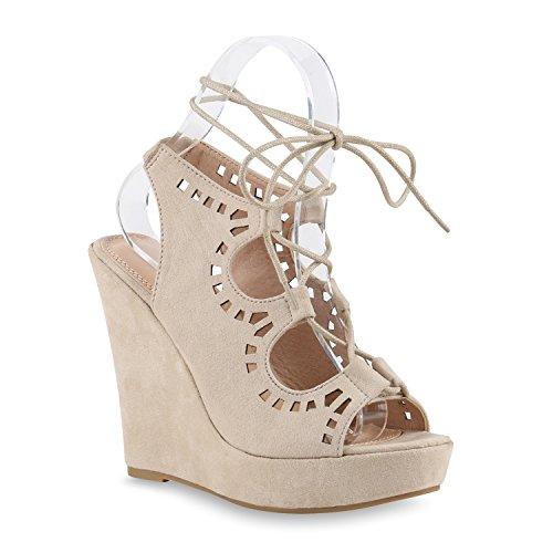 Schicke Damen Sandaletten   Sandalen mit Keilabsatz Veloursleder-Optik    Plateau Sandaletten Bast   Sommer 335d0ebdf4
