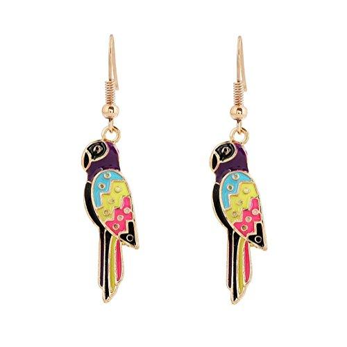 Hot enamel parrot drop earrings Quality costume jewellery DE036-01
