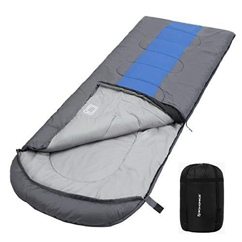 SONGMICS Schlafsack mit Kompressionsbeutel, breiter Deckenschlafsack für 4 Jahreszeiten, leicht zu transportieren, für Camping, 220 x 84 cm, Komforttemperatur 5-15°C, dunkelgrau-blaugrün GSB02QG
