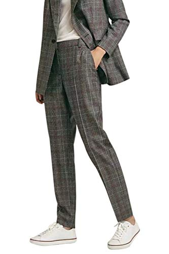 Suvimuga Mujer Pantalones Rectos Pantalones Rectos Casual A Cuadros L