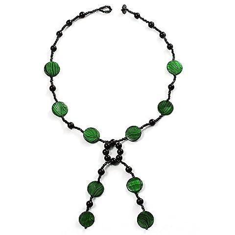Collier Gland Perles Coquillage & Verre (Vert Vif & Noir)