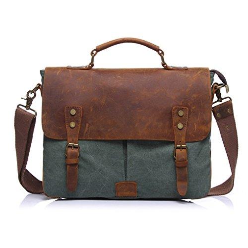 QHGstore Vintage-Umhängetasche Tasche Leinwand-Schultertasche Messenger Bag Handtasche Grün