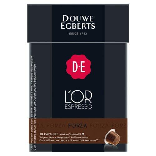 Douwe Egberts L´OR Espresso Forza, 10 Kaffee Kapseln, Nespresso kompatibel