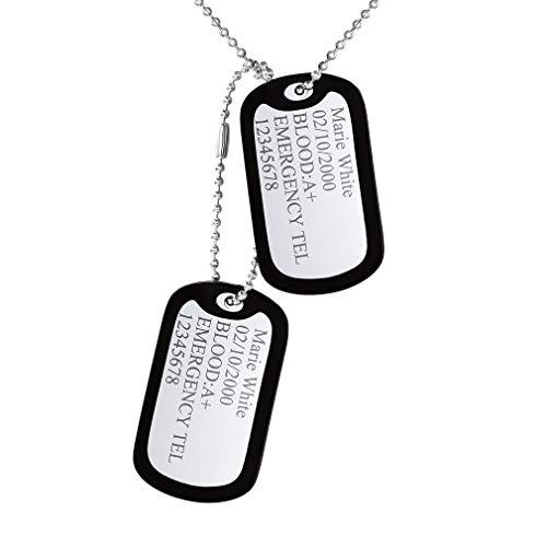 Custom4U Edelstahl Anhänger Halskette Dog Tag Paar Paare mit 1* Kette Gravur Original-Dogtags:Militärischen Erkennungsmarken-Zwei personalisierten Erkennungsmarken