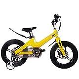 Bicicletas Infantiles 12 14 16in,Unisex Bicicleta BMX Freestyle,Freno de Disco,Material de Aleación de Magnesio,Adecuado para niños de 2 a 8 años,Yellow,14in