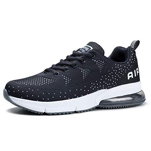 HKR Sportschuhe Damen Laufschuhe mit Luftpolster Turnschuhe Sneakers Air Schuhe Trainer Leichte Profilsohle Grau EU 37 -