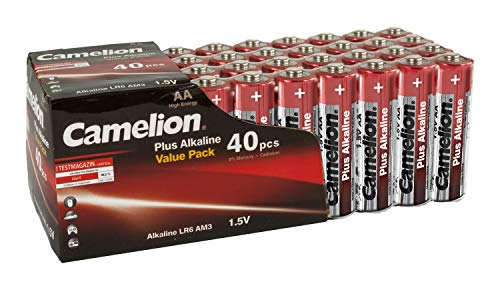Camelion 11104006 Plus Alkaline Batterie LR06 (Mignon, AA, 40er-Pack) rot/gold -