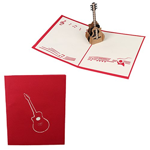 ZOOMY 3D Retro Gitarre Pop Up Grußkarte Geburtstag Hochzeit Baby Dusche Valentine Pop 12,5 cm x 15,5 cm / 4,92