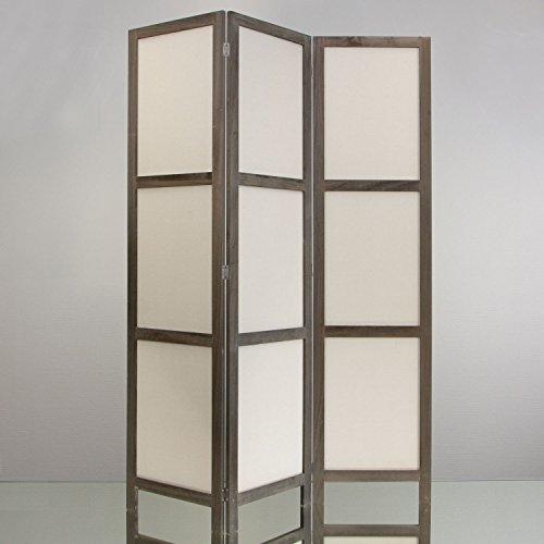 NEG Paravent Rigel (treibholz-grau) Raumteiler/Sichtschutz aus Echt-Holz und Baumwolle (spanische Wand)