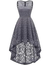 64e594ce625 Dresstells Damen Spitzenkleid Vokuhila Kleid V-Ausschnitt Unregelmässig  Cocktail Abendkleider elegant für…