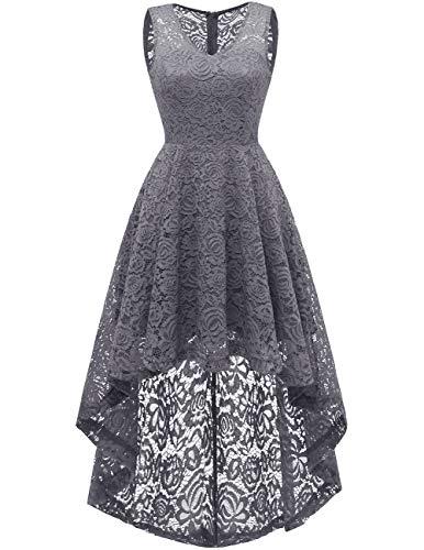 Dresstells Vokuhila Cocktailkleid elegant Spitzenkleid V-Ausschnitt Ärmellos Floral Festliche Kleider Grey M -