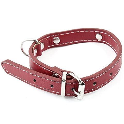 Stud Decor Single Pin verstelbare faux lederen halsband Rode