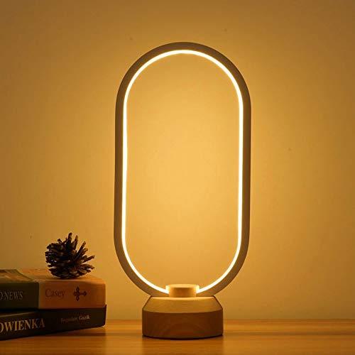 Oval Basis Lampe (Kreative Tischlampe Bambus Holz Schreibtisch Licht Fernbedienung Stufenlos Dimmen Led-beleuchtung Einfache Kreative Beleuchtung Wohnzimmer Schlafzimmer Raumdekoration Lampe Warmes Zuhause)